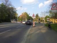"""""""Achtung Baustelle"""", natürlich auf dem Radweg"""